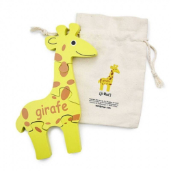 French + English Giraffe Puzzle | Bilingual Puzzle | Wooden Toy | Montessori Learning | French Language Toys | Play Set | Language Learning Market