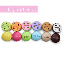 French + English Macarons Playset | Bilingual Wooden Kitchen Toys | Pretend Play | Food Toys | Montessori Learning | French Language Toys | Play Set | Language Learning Market