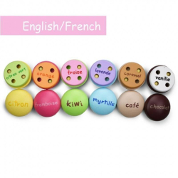 English + French Macarons Playset | Bilingual Wooden Kitchen Toys | Pretend Play | Food Toys | Montessori Learning | French Language Toys | Play Set | Language Learning Market
