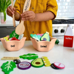 French + English EnSALADa Playset | Bilingual Wooden Kitchen Toys | Pretend Play | Food Toys | Montessori Learning | French Language Toys | Language Learning Market