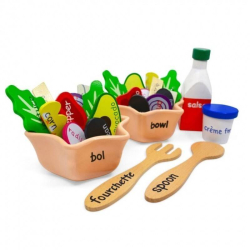 English + French EnSALADa Playset | Bilingual Wooden Kitchen Toys | Pretend Play | Food Toys | Montessori Learning | French Language Toys | Language Learning Market