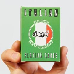 Learn Italian Playing Cards | Original Paper Packing | Bilingual Italiano - English Phrases | Italiano Italian Flag | Italian Game Set | Useful Italian Travel Phrases | Language Learning Market