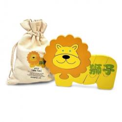 Mandarin Chinese + English Lion Puzzle | Bilingual Puzzle | Wooden Toy | Montessori Learning | Chinese Language Toys | Play Set | Language Learning Market