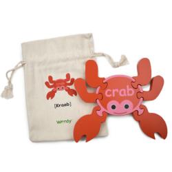 English + Mandarin Chinese Crab Puzzle | Bilingual Puzzle | Wooden Toy | Montessori Learning | Chinese Language Toys | Play Set | Language Learning Market