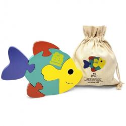 Mandarin Chinese + English Fish Puzzle | Bilingual Puzzle | Wooden Toy | Montessori Learning | Chinese Language Toys | Play Set | Language Learning Market