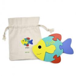 English + Mandarin Chinese Fish Puzzle | Bilingual Puzzle | Wooden Toy | Montessori Learning | Chinese Language Toys | Play Set | Language Learning Market
