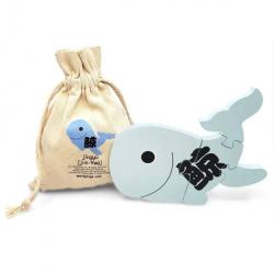 Mandarin Chinese + English Whale Puzzle | Bilingual Puzzle | Wooden Toy | Montessori Learning | Chinese Language Toys | Play Set | Language Learning Market