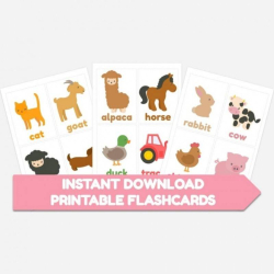 Farm Animals Flashcards   Printable   Farm Animals   Instant Download   Educational Material   Toddler Education   English Vocabulary   Montessori Learning Resource