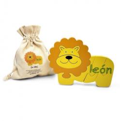 Spanish + English Lion Puzzle | Bilingual Puzzle | Wooden Toy | Montessori Learning | Spanish Language Toys | Play Set | Language Learning Market