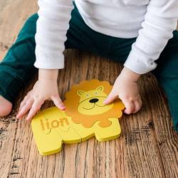 English + Spanish Lion Puzzle | Bilingual Puzzle | Wooden Toy | Montessori Learning | Spanish Language Toys | Play Set | Language Learning Market