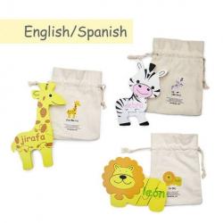 Spanish + English Safari Puzzle Set | Bilingual Puzzle | Wooden Toy | Montessori Learning | Spanish Language Toys | Language Learning Market