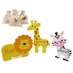 English + Spanish Safari Puzzle Set | Bilingual Puzzle | Wooden Toy | Montessori Learning | Spanish Language Toys | Language Learning Market