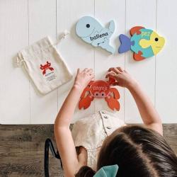 Spanish + English Sea Puzzle Set | Bilingual Puzzle | Wooden Toy | Montessori Learning | Spanish Language Toys | Play Set | Language Learning Market