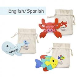 English + Spanish Sea Puzzle Set | Bilingual Puzzle | Wooden Toy | Montessori Learning | Spanish Language Toys | Play Set | Language Learning Market