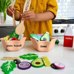 Spanish + English EnSALADa Playset | Bilingual Wooden Kitchen Toys | Pretend Play | Food Toys | Montessori Learning | Spanish Language Toys | Language Learning Market
