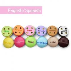 English + Spanish Macarons Playset | Bilingual Wooden Kitchen Toys | Pretend Play | Food Toys | Montessori Learning | Spanish Language Toys | Play Set | Language Learning Market