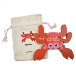 English + Spanish Crab Puzzle | Bilingual Puzzle | Wooden Toy | Montessori Learning Playset | Spanish Language Toys | Play Set | Language Learning Market
