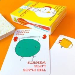 Spoons Con Cucharas   Juego de Cartas   Language Learning Games   Dual Language Cards   Vocabulario en Ingles   Spanish Español Fun Game   Language Learning Market
