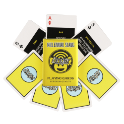 Millennial Slang Playing Cards | Sturdy Travel Case | Learn Millennial English Phrases | Emoji | Language Learning Game Set | Useful Millennial Vocabulary  | Language Learning Market