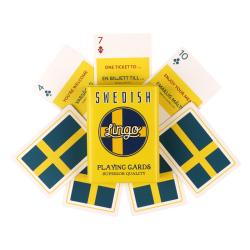 Swedish Playing Cards | Sturdy Travel Case | Bilingual English - Swedish Travel Phrases | Swedish Flag Cards | Language Learning Game Set | Useful Svenska Swedish Phrases | Language Learning Market
