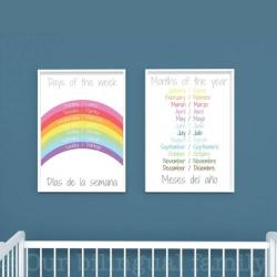 English Spanish Bilingual Posters | Nursery Art | Digital Download | Teach Kids Spanish | Bilingual Education | Classroom Prints | Wall Art Decor | Language Learning Market