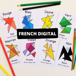 French Colours Flashcards Printable | Bilingual Flashcards | Instant Download | Language Learning Flashcards | Teach Kids French | Les Couleurs | English - French