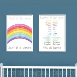 French English Bilingual Posters - Set of 2 | Nursery Art | Digital Download | Teach Kids French | Bilingual Education | Classroom Prints | Wall Art Decor | Language Learning Market