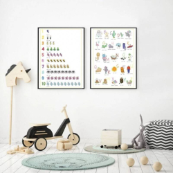French English Posters - Set of 2 | French Alphabet and Numbers | Printable Poster | Kids Learning French - Français | Bilingual Education | Wall Art Decor | Language Learning Market