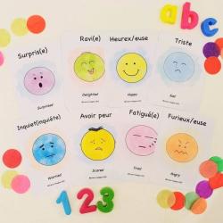 French Flashcards - Emotions | Bilingual Education | Language Learning Flashcards | Teach Kids French | Feelings | Sentiments | French - English Flashcards