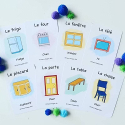 French Flashcards - In my Home | Bilingual Flashcards | Household Items | Language Learning Flashcards | Learn House Vocabulary in French | Teach Kids French