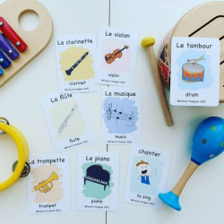 French Flashcards - Music | Bilingual Flashcards | Learn about Music in French | Les Instruments de Musique | Teach Kids French | Language Learning Flashcards