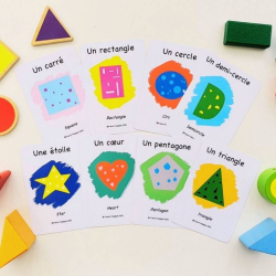 French Flashcards - Shapes | Bilingual Education | Language Learning Flashcards | Teach Kids Shapes in French | Formes | French - English Flashcards