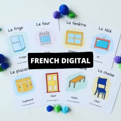 French Printable Flashcards - In my Home | Bilingual Flashcards | Instant Download | Household Items | Language Learning Flashcards | Teach Kids French