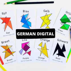 German Colours Flashcards Printable | Bilingual Flashcards | Instant Download | Language Learning Flashcards | Teach Kids French | Les Couleurs | English - German
