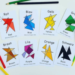 German Colours Flashcards | Bilingual Education | Language Learning Flashcards | Teach Kids Colours in German | Les Couleurs | German Deutsch - English Flashcards