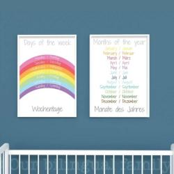 German English Bilingual Posters - Set of 2 | Nursery Art | Digital Download | Teach Kids German | Bilingual Education | Classroom Prints | Wall Art Decor | Language Learning Market