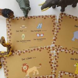 German Flashcards - African Animals | Bilingual Education | Language Learning Flashcards | Teach Kids German | Conversation Cards | German - English Flashcards