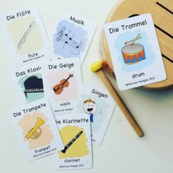 German Flashcards - Music | Bilingual Flashcards | Learn about Music in German | Musikinstrumente | Teach Kids German | Language Learning Flashcards