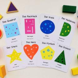 German Flashcards - Shapes | Bilingual Education | Language Learning Flashcards | Teach Kids Shapes in German | Die Formen | German Deutsch - English Flashcards