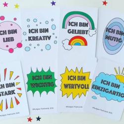 German Positive Affirmation Cards | Bilingual Education | Language Learning Flashcards | Motivational Postcards | Teach Kids German | German - English