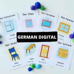 German Printable Flashcards - In my Home | Bilingual Flashcards | Instant Download | Household Items | Language Learning Flashcards | Teach Kids German