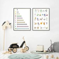 Italian English Posters - Set of 2 | Italian Alphabet and Numbers | Printable Poster | Kids Learning Italian - Italiano | Bilingual Education | Wall Art Decor | Language Learning Market