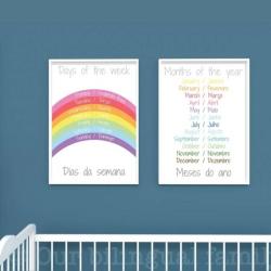 Portuguese English Bilingual Posters - Set of 2 | Nursery Art | Digital Download | Teach Kids Portuguese | Bilingual Education | Classroom Prints | Wall Art Decor | Language Learning Market