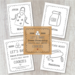 Spanish Cookie Recipe Coloring Flash Cards | Instant Download | Spanish Kitchen Vocabulary | Printable Flashcards | Montessori Learning Resource | Language Learning Market