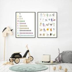 Spanish English Posters - Set of 2 | Spanish Alphabet and Numbers | Printable Poster | Kids Learning Spanish - Español | Bilingual Education | Wall Art Decor | Language Learning Market