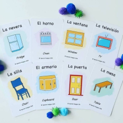 Spanish Flashcards - In my Home   Bilingual Flashcards   Household Items   Language Learning Flashcards   Learn House Vocabulary in Spanish   Teach Kids Spanish