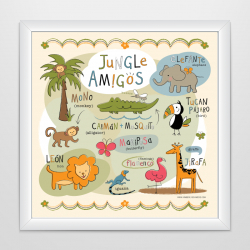 Spanish Printable Jungle Animals | Spanish Poster for Kids | Instant Download | Playroom Decor | Jungle Animals | Printable Wall Art | Montessori Poster | Language Learning Market