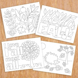 Fall Colouring Sheets   Digital Download   Autumn Coloring Pages for Kids or Adults   Set of 8 Sheets   Educational Printables