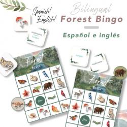 Forest Bingo | Bingo del bosque | Bilingual Spanish - English Printable Game | Juego Bilingue Español - Ingles | Preschool Activity | Actividad Preescolar | Language Learning Market
