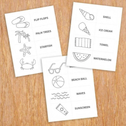 Summer Colour and Match Game   Printable Kids Summer Activity   Learn English Words   Summer Learning   Educational English Flashcards